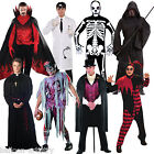 Adult Men's Halloween Gothic Vampire Zombie Reaper Skeleton Fancy Dress Costume