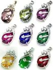 """Oval Crystal Pendant 925 Silver 18"""" Box Chain Necklace ~Gift Boxed 15x31mm 1.25"""""""