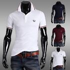 Top New Men Casual Slim Fit T-Shirts Short Sleeve Polo Shirts Tee 3Colors IN S~L