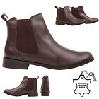 WOMENS LADIES LOW HEEL ANKLE PULL CHELSEA GUSSET DARK BROWN LEATHER BOOTS SIZE