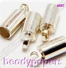 60 100 or 250 Silver Colour Brass Necklace Cord End Tip Caps 9mm Findings 4087