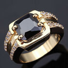 Size8,9,10,11 Jewelry Man's Black Sapphire 10KT Yellow Gold Filled Ring For Gift