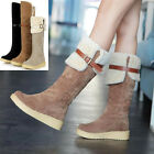 NEW WOMEN LADIES FLAT LOW HEEL BUCKLE SNOW WINTER KNEE HIGH BOOTS