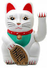 """Chinese Feng Shui Golden White Waving Fortune/ Lucky Cat 5""""H Best Gift Good Luck"""