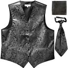 New Men's Paisley Tuxedo Vest Waistcoat  Ascot Cravat  Hankie Wedding Charcoal
