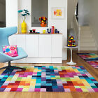 NEW MODERN THICK LARGE MEDIUM MULTI COLOURED PURE NEW ZEALAND WOOL RUGS & RUNNER