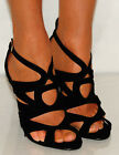 STRAPPY PLATFORM HIGH STILETTO HEELS COURT SHOE SANDALS BLACK SIZE COUTOUT PARTY