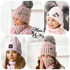 Girls Hat With Scarf Knitted Set Hat and Tube Scarf Autumn Warmer