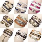 ItS7 Infinity Alloy Anchor Rudder Leather Friendship Love Couple Charm Bracelet