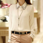 Ivory Women Long Sleeve Loose Tops Ladies Career Button Down Dress Shirt Blouse