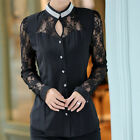 Casual Womens Stand Collar Lace Long Sleeve Blouse Shirt Button Down Ladies Tops