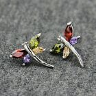 18k White Gold GP Use Swarovski CZ Crystal Dragonfly Stud Earrings