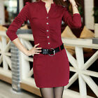 New Women's V Neck Long Sleeve Slim Fitted OL Button Down Mini Shirt Dress solid