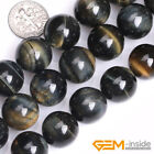 """Blue Tiger's Eye Gemstone Round Loose Spacer Beads For Jewelry Making Strand 15"""""""