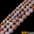 Round Crackle Pink Agate beads Jewelry Making loose gemstone beads strand 15""