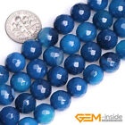 "Natural Dark Blue Agate Gemstone Faceted Round Loose Spacer Beads Strand 15"" YB"