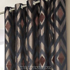 DESIGNER CURTAINS BROWN & BLACK RING TOP EYELET HEADING.NEXT DAY DELIVERY