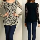 Stylish Crew Neck Long Sleeve Lace Patchwork Womens Casual Shirt Blouse Top New