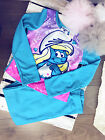 Kids Long Sleeve Smurfs character Sleepwear set flannel pyjamas Girls blue pink