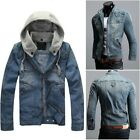 Vintage Mens CLASSIC VINTAGE Denim Hooded Jean Jacket Detachable Cap Hoody Coat