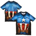 Captain America Costume Sublimation All Over Print Licensed Adult Shirt S-XXL