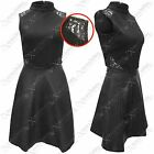 New Womens Ladies Polo Top Pu Skirt Dress Black Texture Look Skater Dresses