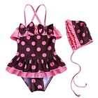 GIRLS POLKA DOTS SWIMMING COSTUME SWIMWEAR SWIMSUIT BATHING AGE 2 3 4 5 6 YEARS