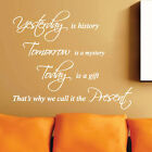 YESTERDAY IS HISTORY Home Family  Wall Quote Stickers Wall Decals Word lettering
