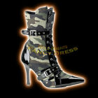 Ladies Camouflage Army Ankle Boots Size 3-8