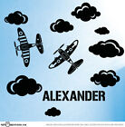 Custom Name Planes & Clouds Boys Bedroom Vinyl Wall Stickers Art Decals ST1111