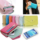PU Leather Flip ID Wallet Purse Phone Case Cover For iPhone 4 5 Samsung S4 S3