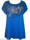 New Ladies Blue Floral Foil Print Top Size 16-18-20-22/24-26/28-30/32 Plus size