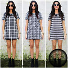 Aztec Tribal Tunic Monochrome Print Black White Shift Mini Dress 8 10 12 14