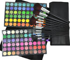 120 New Full Color Shimmer Eyeshadow Palette Makeup W/ Black /Golden Brushes