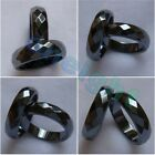 Hot 2PCS Wide Faceted Magnetic Hematite Band Rings Size 5 6 7 8 9 10 11 12 13