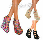 WOMENS HIGH WEDGE HEELS SHOE PLATFORM BUCKLE ANKLE STRAPPY SUMMER SANDALS SIZE