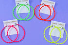 Large Slim 6 cm Vibrant Neon Enamel Twisted Hoop Earrings Retro 80's Pierced NEW