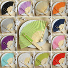 150 pcs HAND FANS Summer Silk Fabric Folding Wedding Favors Decorations Sale