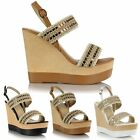 Ladies Women Platform High Wedge Heel Strappy Peep Open Toe Buckle Sandals Shoes