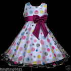 UsaG gi2 White Birthday w866 Party Hotpink Dots Fuchsia Summer Girls Dress 2-12y