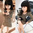 Kids Toddlers Girls clothing long Sleeves Leopard Party Dress Skirt Ages 2-7Y N9