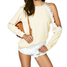 Sexy Off Shoulder Lace Trim Long Sleeve Women Crewneck Knit Tops Pullover Blouse