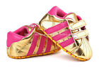 Baby Girl Gold Soft Sole Crib Shoes Sneakers Size Newborn to 18 Months