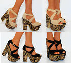 LADIES NUDE BLACK MULTI PAISLEY BLOCK CHUNKY WEDGES WEDGED PLATFORMS HIGH HEELS