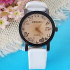 Women Girl Cute Round Dial Leather Band Quartz Wrist Watch Hours Clock 4 Colors