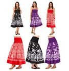 WOMENS COTTON 2 IN 1 STRAPLESS DRESS + ELASTICATED LONG MAXI SUMMER SKIRT LADIES