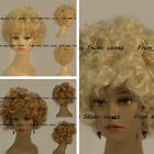 "Fashion Short Blonde Wavy Hair Wigs For Girls And Women 8"" Full Lace Capless"