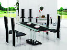 PAVIA EXTENDING GLASS CHROME DINING ROOM TABLE & 4 CHAIRS SET-FURNITURE-601-816