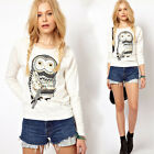 New Rhinestone Owl Pattern Round Neck Long-sleeved Pullover Sweater T-Shirt Z361