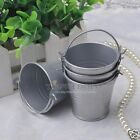 12/24/60PCS Alloy Mini Pail Bucket Candy Gift Box Wedding Party Favor Box Silver
